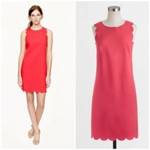 J. Crew Factory Coral Scalloped Shift Dress